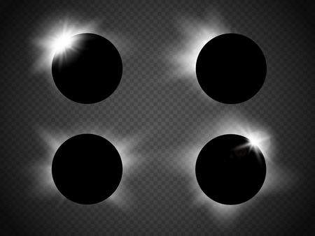 moons: Sun and moon Vector Set. Various vector suns and moons including an eclipse. Vector illustration