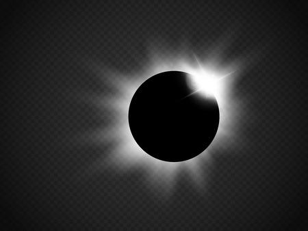 astrophysical: Sun eclipse isolated on transparent background. Vector illustration Illustration
