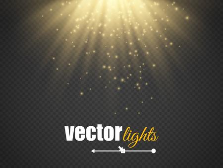 Light effect, beams on transparent background. Vector illustration
