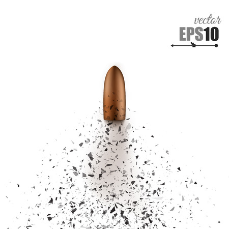 splinters: Bullet shot smashed the glass in the splinters. Vector illustration