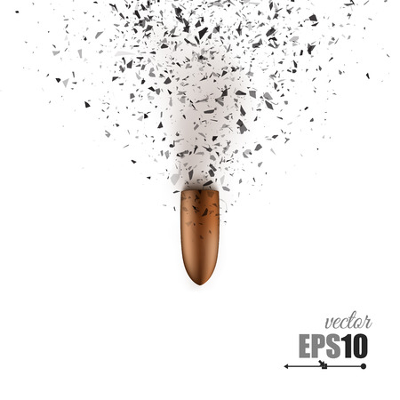 shot glass: Bullet shot smashed the glass in the splinters. Vector illustration