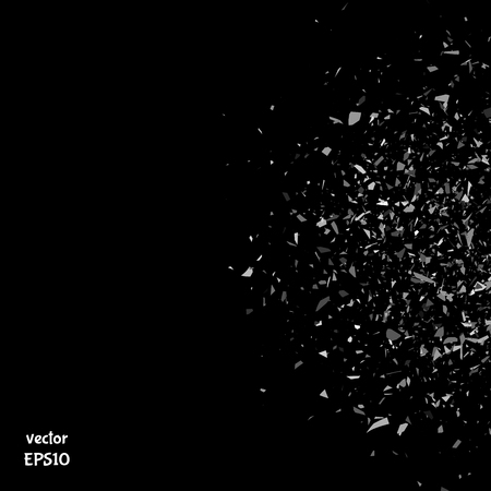 glass background: Vector particles. Explosion cloud of black pieces. Confetti. Vector illustration