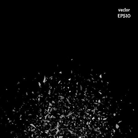 shatter: Vector particles. Explosion cloud of black pieces. Confetti. Vector illustration
