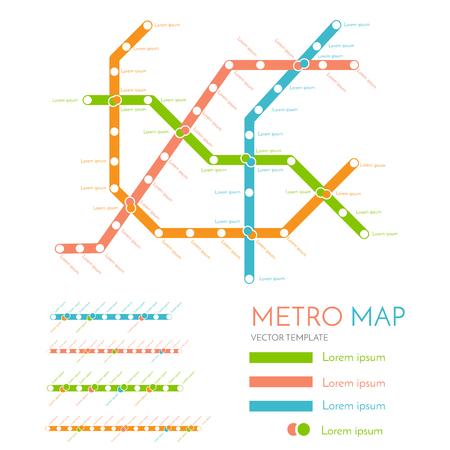 transit: metro or subway map design template. city transportation scheme concept. rapid transit vector illustration