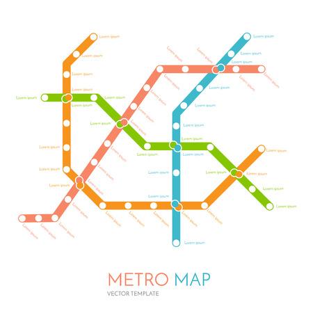 esquema: metro o metro mapa plantilla de diseño. ciudad concepto diseño del transporte. ilustración vectorial de tránsito rápido Vectores
