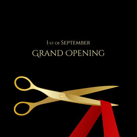 celebrities: Grand Opening celebrities illustration with gold scissors and red ribbon isolated. Vector illustration Illustration