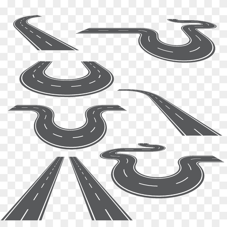 curve road: Direction road, curve road, highway road, road transportation illustration. Vector set