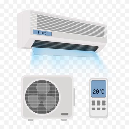 Airconditioner op wit wordt geïsoleerd. vector illustratie