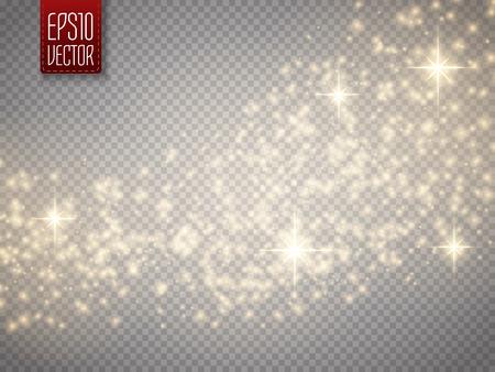 Fala brokat złoty wektor abstrakcyjne tło. Złoto błyszczące gwiazdki szlak cząstki pyłu musujące na przezroczystym tle. Magiczne tła