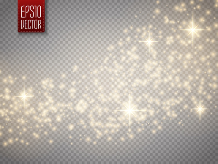 Vector gold glitter wave abstract background. Gold glittering star dust trail sparkling particles on transparent background. Magic background