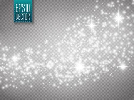 Vector gold glitter vague de fond abstrait. Or étoile brillante traînée de poussière de particules scintillantes sur fond transparent. fond magique