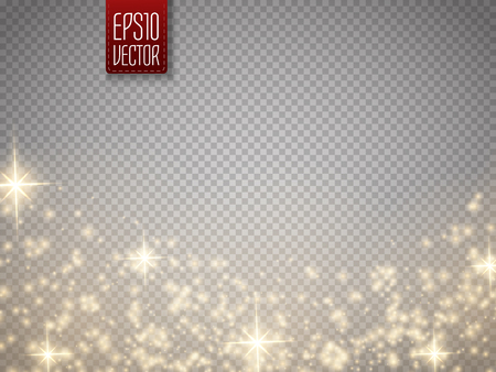Glow special effect light, flare, star and burst. Isolated spark. Vector illustration
