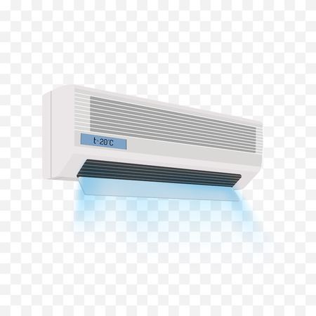 ionizer: Air conditioner isolated on white. Vector illustration