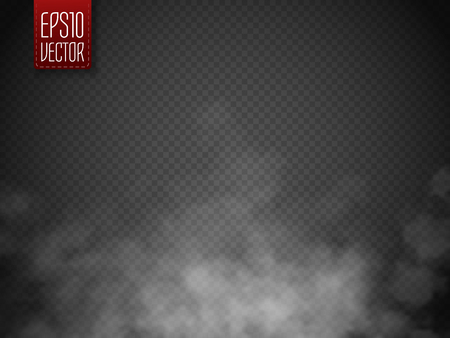fog white: Fog or smoke isolated transparent special effect. White vector cloudiness, mist or smog background. Magic template. Vector illustration Illustration