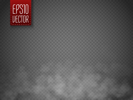 smog: Fog or smoke isolated transparent special effect. White vector cloudiness, mist or smog background. Magic template. Vector illustration Illustration