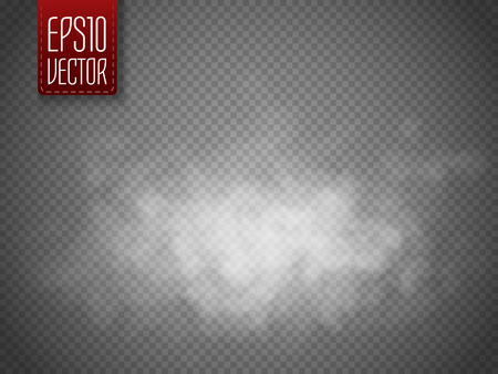 Fog or smoke isolated transparent special effect. White vector cloudiness, mist or smog background. Magic template. Vector illustration 일러스트