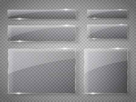 Las placas de vidrio fijados. banderas de vidrio del vector en el fondo transparente. ilustración vectorial