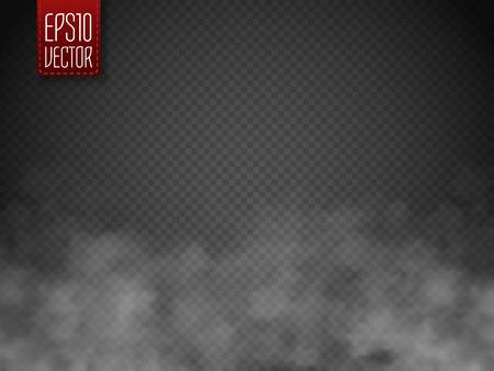 Brouillard ou fumée isolé effet spécial transparent. Blanc vecteur nébulosité, le brouillard ou le smog fond. modèle magique. Vector illustration Vecteurs