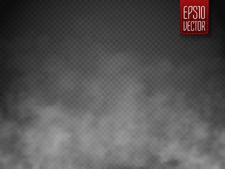 Mgły lub dymu samodzielnie przejrzystą efekt specjalny. Biały wektor zachmurzenie, mgły lub smog tła. Magia szablonu. ilustracji wektorowych