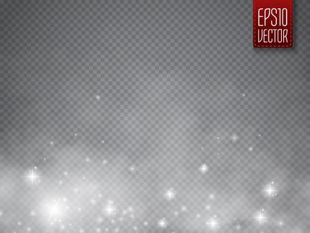 Brouillard ou fumée avec de la lumière luminescente isolé effet spécial transparent. Blanc vecteur nébulosité, le brouillard ou le smog fond. modèle magique. Vector illustration