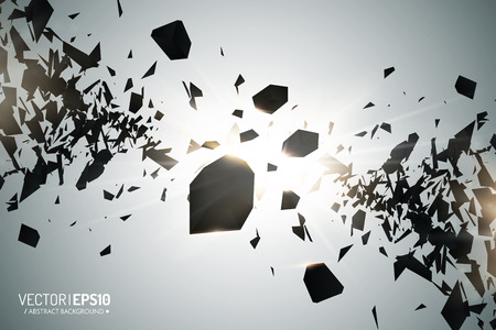 chaotic: Abstract 3d explosion of chaotic black particles with glow lights. Vector background Illustration