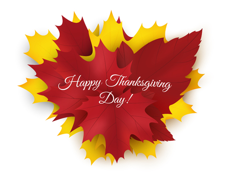 Happy Thanksgiving background with colorful autumn leaves. Vector illustration Illustration