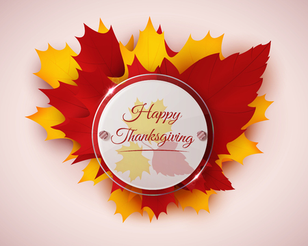 glass badge: Happy Thanksgiving banner with autumn leaves and circle glass badge. Vector illustration Illustration