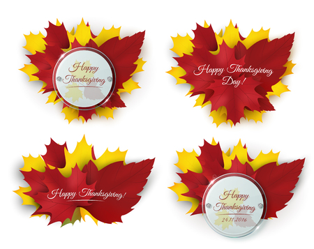 Set of Happy Thanksgiving banners with autumn leaves and circle glass badges. Vector illustration