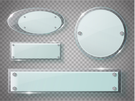 acrylic: Glass plates set. Vector acrylic banners on transparent background. Vector illustration