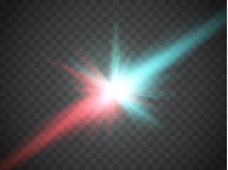 clash: Collision of two forces with red and blue light. Vector illustration. Explosion concept. Illustration