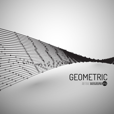 geometric lines: Abstract Background with Dots Array and Lines. Connection Structure. Geometric Modern Technology Concept. Digital Data Visualization. Abstract Infographic Concept Illustration