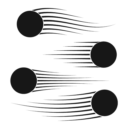 fx: Flying balls set with speed lines. Motion effects collection for your design. Vector illustration Illustration