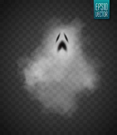 vapour: Ghost isolated on transparent background. Vector illustration. Illustration