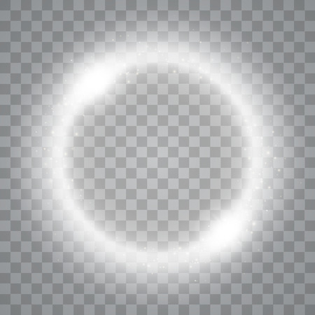 brightly: Round shiny frame background with lights. Abstract luxury light ring. Vector illustration