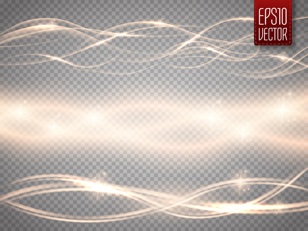 illustration abstract: Abstract smooth glow light wave vector set on transparent background. Vector special effects for your artwork. Curve flow golden smoke motion illustration. Illustration