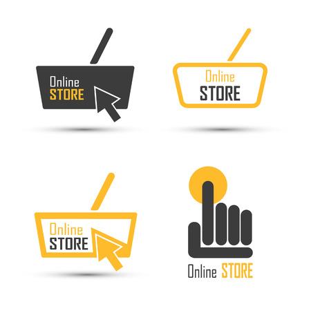 Conjunto de vectores de logotipo de compras. Concepto de vector de tienda en línea. Ilustración del vector Logos