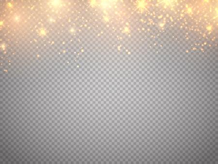 fallen: Christmas concept. Vector gold glitter particles background effect. Fallen glow magic stars. Vector illustration Illustration