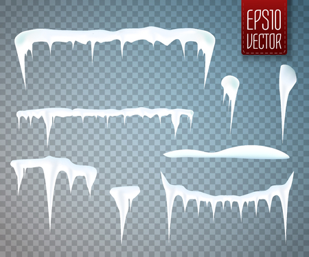 sopel lodu: Set of snow icicles isolated on transparent background. Vector illustration
