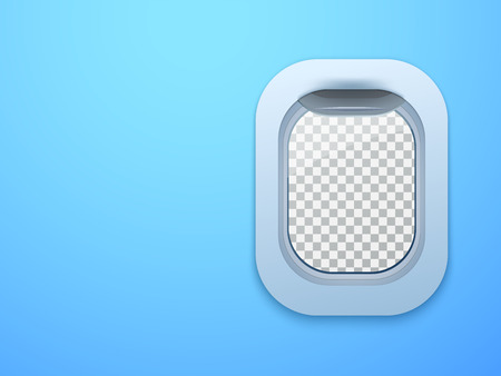 aircraft: Aircraft window. Plane porthole isolated with place for your text. Vector illustration.
