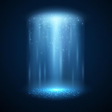 UFO light beam isolated. Magic spotlight. Vector illustration