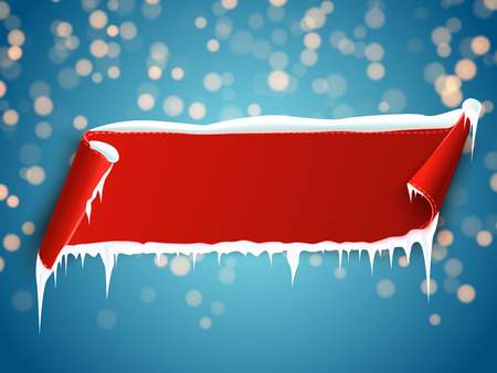 Red empty realistic curved paper banner with snow and icicles isolated on blue bokeh background. Vector illustration. Stock Illustratie