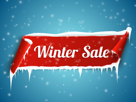 sale sticker: Winter sale background with red realistic ribbon banner and snow. Vector illustration