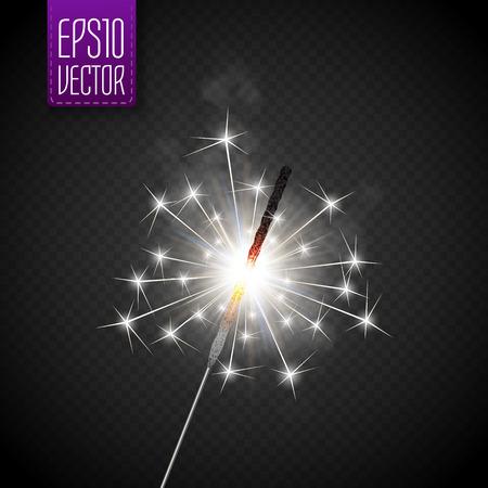 bengal fire: Christmas sparkler set. Vector eps10 illustration for your design