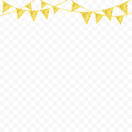 flag banner: Golden glitter bunting flags isolated for your decoration. Vector illustration Illustration