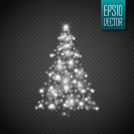 bright christmas tree: Glow Christmas Tree with lights and sparkles isolated on transparent background ,vector