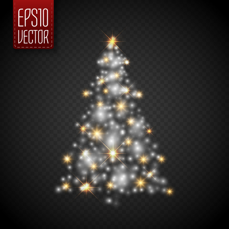 Glow Christmas Tree with lights and sparkles isolated on transparent background ,vector