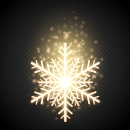shine background: Shine golden snowflake with glitter isolated on transparent background. Christmas decoration with shining sparkling light effect. Vector Illustration