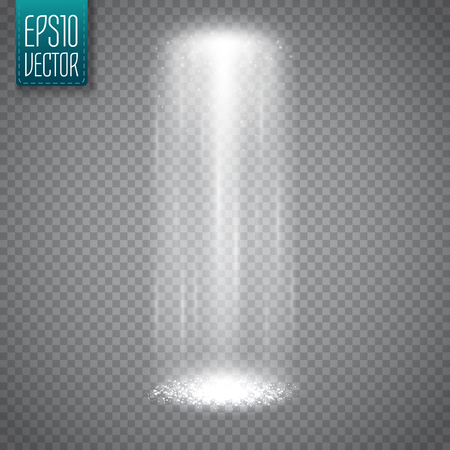 UFO light beam isolated on transparent background. Magic spotlight. Vector illustration