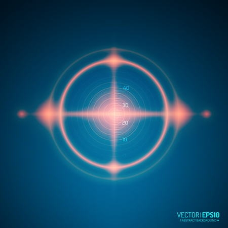 sonar: Neon Target isolated. Game Interface Element. Vector illustration Vettoriali