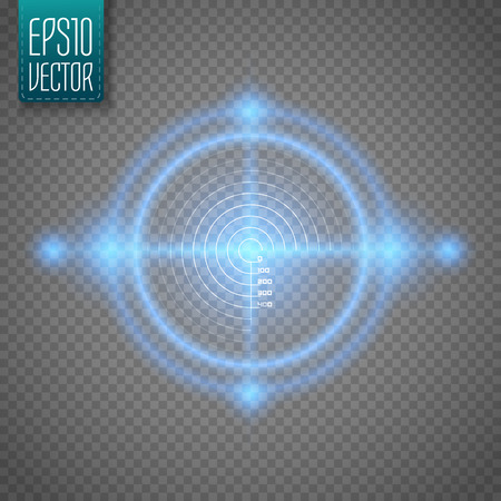 interface: Neon Target isolated. Game Interface Element. Vector illustration Illustration